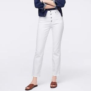 J Crew Petite 10 vintage straight jean white L4730